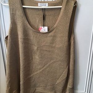 Calvin Klein Gold Metallic sleeveless blouse